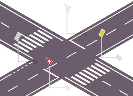 crossway: Road sign on street. Street traffic sign. Info graphic, junction crossway on white background. Illustration crossroads of main and side road. Illustration
