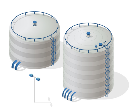 Serbatoio acqua la costruzione di informazioni isometrica grafica. risorsa di acqua bianca. serbatoio acqua Big. Pittogramma pulito chimica industriale e particolari in blu. Vettoriali