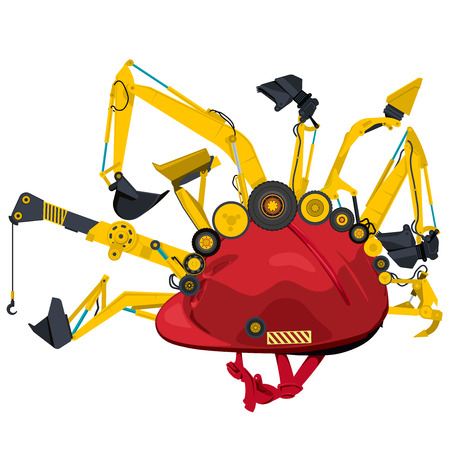 bagger: Construction machinery with red helmet. Yellow set of ground works vehicles machines elements. Construction equipment for building. Truck, digger, crane, forklift, small bagger, roller, excavator.