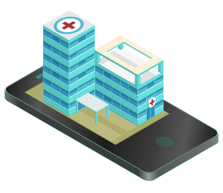 Isometric medical building in mobile phone. Nice pharmacy pictogram. Infographic element of hospital building.