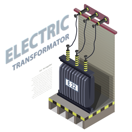 Electric transformer Isometric building info graphic. High-voltage power station. Old plant architecture.