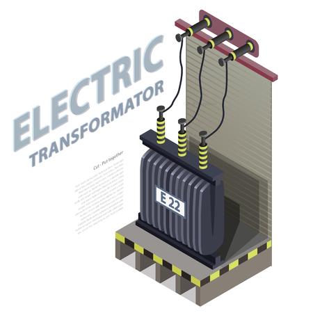 transformateur électrique info bâtiment isométrique graphique. Haute tension de la centrale électrique. architecture de la plante vieille. Vecteurs