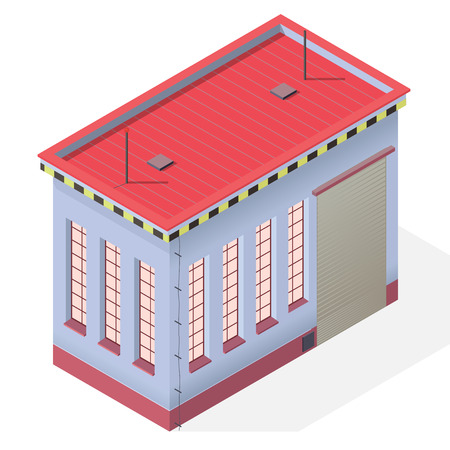 storage facility: Assembly shop isometric building exterior. industrial engineer house workshop. Blue isometric house workroom. Flatten isolated master illustration.
