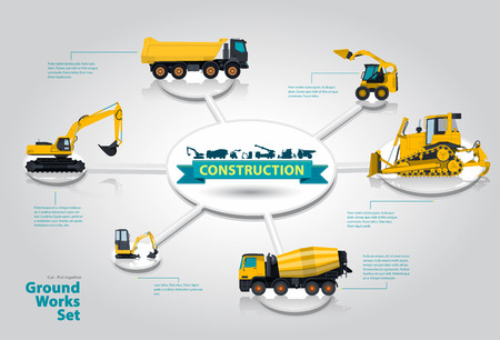 digger: Construction machinery infographic set