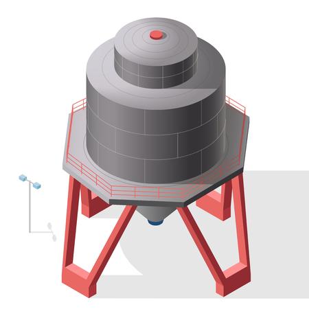 reservoir: Gasoline tanks, isometric building info graphic