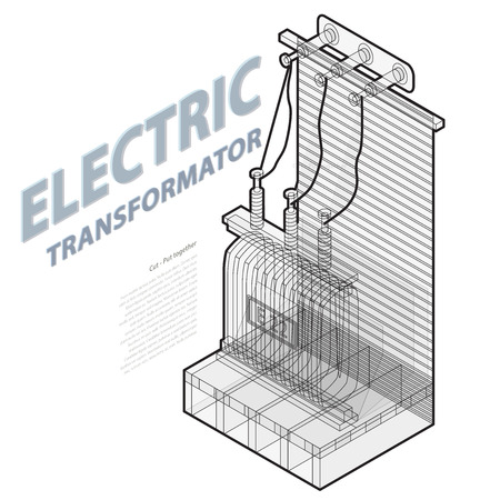 powerhouse: Electric transformer Isometric building info graphic
