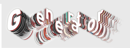 viewed: Generator isometric sign. Generator is falling into pieces. Artistic inscription in modern style. Technology generator typography sign. Letter plates in layers Viewed from below.