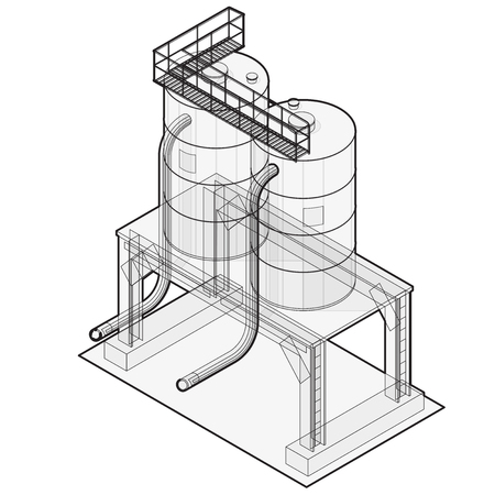 sewage treatment plant: Water reservoir Outlined. Water reservoir building isometric info graphic. Wire water supply resource. Pictogram industrial chemistry cleaner set with blue details. Flatten master isolated icon