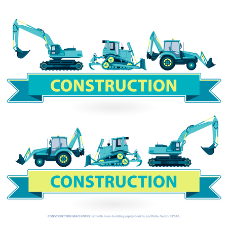 ditch: Construction Machinery set. Blue works with ground sign. Machine vehicles, truck. Building equipment mix, lorry. Heavy pavement foundation. Master illustration. Symbol icon brand.