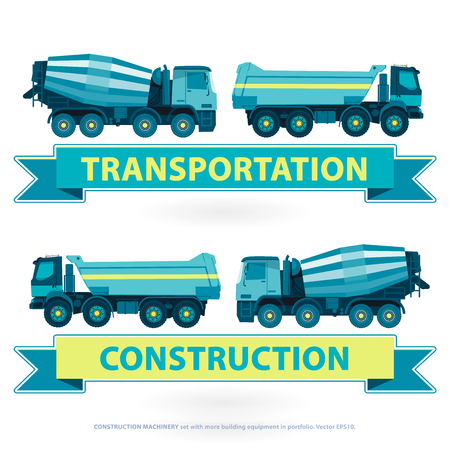works: Construction Machinery set. Blue works with ground sign. Machine vehicles, truck. Building equipment mix, lorry. Heavy pavement foundation. Master illustration. Symbol icon brand.