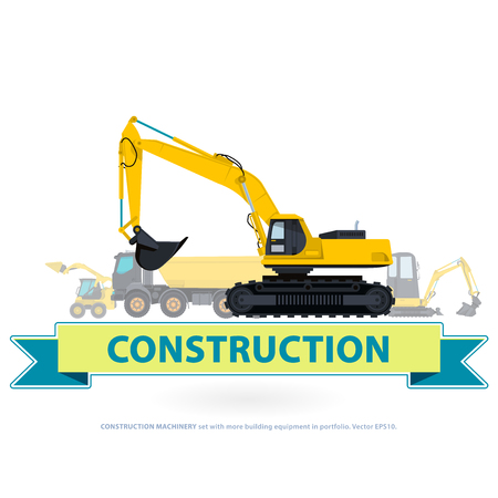 pavement: Construction machinery yellow set. Ground works with sign. Machine vehicles, excavator. Building equipment digger, bagger, truck. Heavy pavement foundation. Master illustration. Symbol brand.