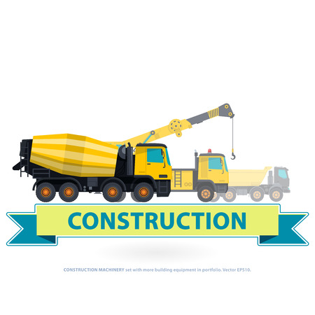 works: Construction machinery yellow set. Ground works with sign. Machine vehicles, excavator. Building equipment digger, bagger, truck. Heavy pavement foundation. Master illustration. Symbol brand.