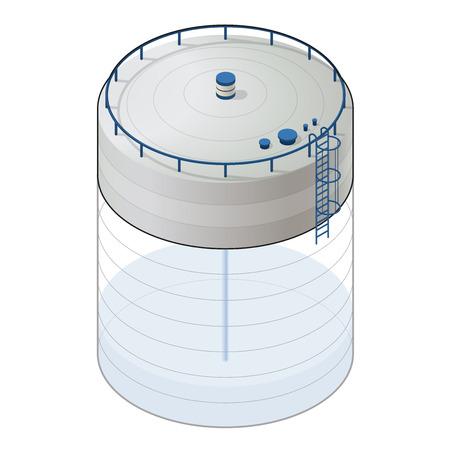 Underground water reservoir building isometric info graphic. Big Subterranean water reservoir. White water supply resource. Pictogram industrial chemistry cleaner. Flatten master isolated icon. Vetores