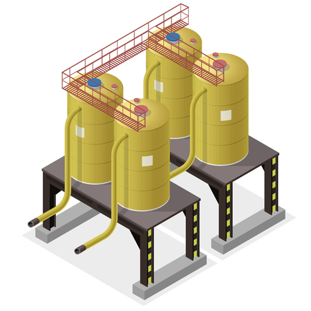 sewage treatment plant: Water reservoir building isometric info graphic. Big water reservoir. White water supply resource. Pictogram industrial chemistry cleaner set with blue details. Flatten master isolated icon. Illustration