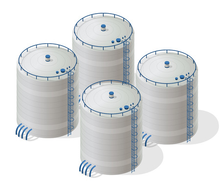 Water reservoir building isometric info graphic. Refinery accessories. Gasometer containers. Uninterruptible power supply Reserves. White water supply resource. Flatten master isolated icon.