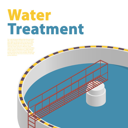 Big bacterium purifier factory on white background. Detail of water treatment building isometric info graphic. Scientific illustration. Industrial Chemistry cleaner set. Flatten isolated master