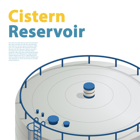 sewage treatment plant: Water reservoir tanks, isometric building info graphic. Detailed Refinery accessories. Gasometer containers. Uninterruptible supply Reserves. White water supply resource. Isolated master icon Illustration