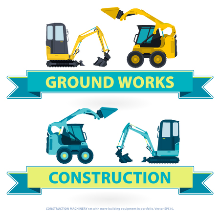 works: Construction machinery nice set. Blue works with ground sign. Machine vehicles, excavator. Building equipment digger, bagger. Heavy pavement foundation. Master vector illustration. Symbol brand. Illustration