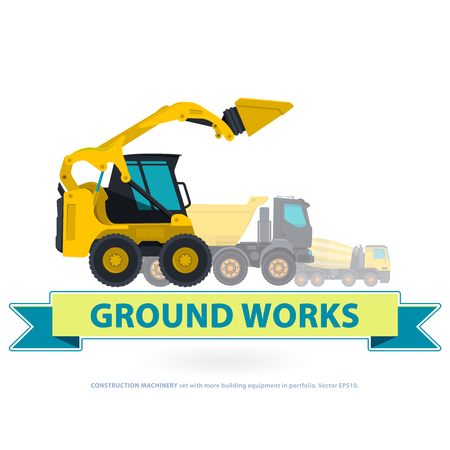 bagger: Construction machinery yellow set. Ground works with sign. Machine vehicles, excavator. Building equipment digger, bagger, truck. Heavy pavement foundation. Master vector illustration. Symbol brand.