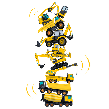assembled: Tower assembled from building machines - truck, digger, crane, bagger, mix. Construction machinery yellow set. Collected ground works. Machine vehicles, excavator. Build equipment. Vector illustration