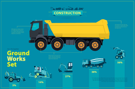 bagger: Blue infographic big set of ground works blue machines vehicles. Catalog page. Heavy construction equipment for building digger truck crane excavator bagger mix roller transportation master vector.