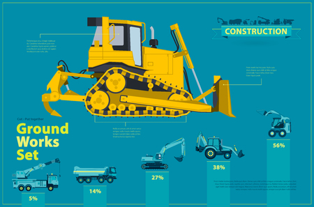heavy construction: Blue infographic big set of ground works blue machines vehicles. Catalog page. Heavy construction equipment for building digger truck crane excavator bagger mix roller transportation master vector.