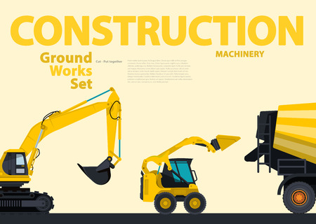 digger: Yellow hundreds of machines construction machinery vehicles, excavator. Construction equipment for building. Truck, Digger, Crane, Bagger, mix, master vector illustration, nice ground works typography page