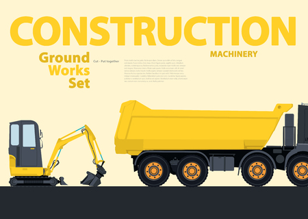 rollover: Yellow hundreds of machines construction machinery vehicles, excavator. Construction equipment for building. Truck, Digger, Crane, Bagger, mix, master vector illustration, nice ground works typography page