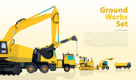 ditch: Yellow hundreds of machines construction machinery vehicles, excavator. Construction equipment for building. Truck, Digger, Crane, Bagger, mix, master vector illustration, nice ground works typography page