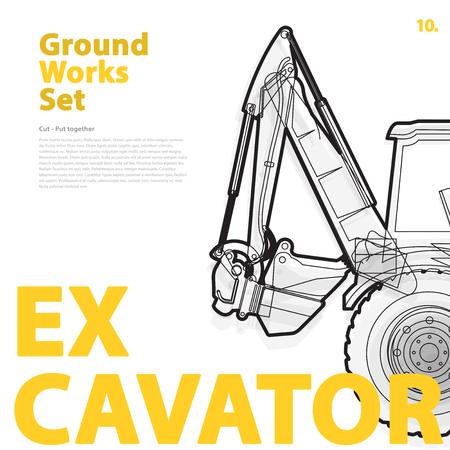 rollover: Excavator - construction machinery. Illustration