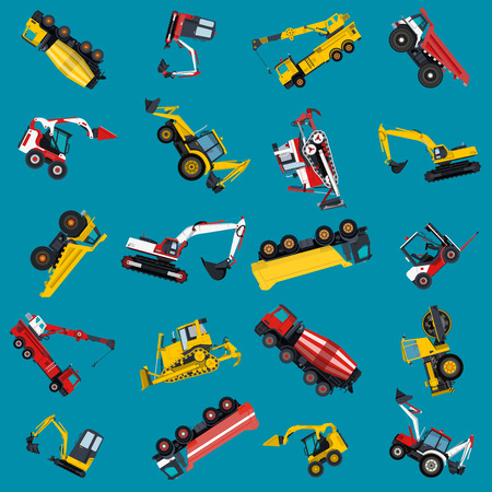 ditch: Wallpaper with construction machinery set on blue. Illustration