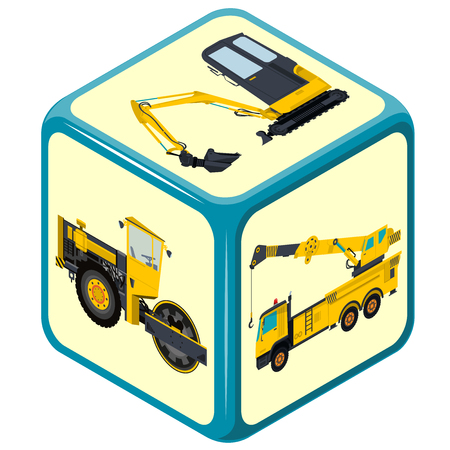construction machinery: Isometric playing dice. Construction Machinery game. Color full cube on white background.