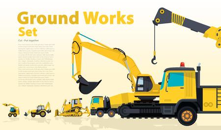 Gele honderden machines bouwmachines voertuigen, graafmachine.