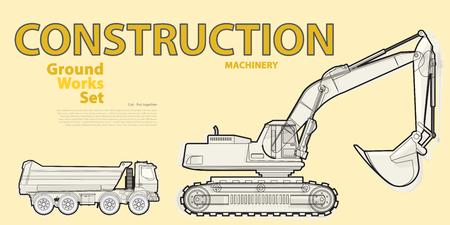 roadwork: Black and white wire big set of ground works vehicles on yellow machines. Illustration