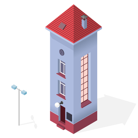 svelte: Tall and slim house. Isometric blue building with red roof. Funny architecture
