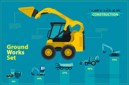 ditch: Blue infographic big set of ground works blue machines vehicles.