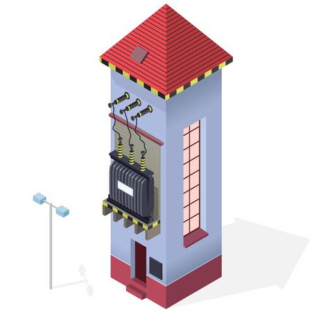 edificio industrial: Transformador eléctrico información gráfica isométrica edificio. De alta tensión de la central eléctrica. arquitectura antigua planta. ilustración científica. electricidad industrial conjunto de pictograma.