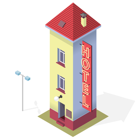 tall chimney: Funny small hotel. Tall and slim hostel. Isometric hotel building with red roof. Funny architecture. High and comical building with chimney.