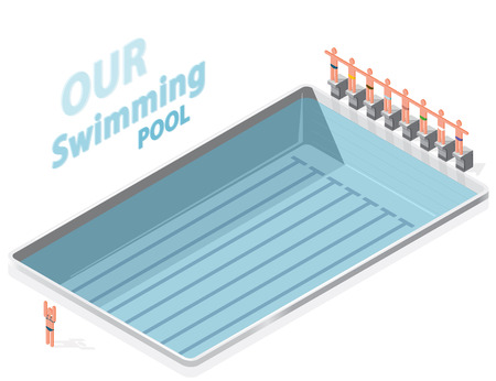 springboard: Isometric swimming pool with swimmers. Sportsmen on springboard prepare to swim in water. Race swimmers jump start it.