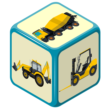 fork lift: Isometric playing dice. Construction Machinery game. Color full cube on white background. Six sides die game. Side with excavator, bagger, fork lift truck and mix. Isolated master vector illustration.