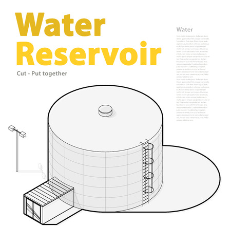 sewage treatment plant: Water tank Outlined cistern. Water treatment isometric building info graphic element. Rounded gasometer, big gasholder, white background. Pictogram industrial reservoir set. Isolated master vector. Illustration