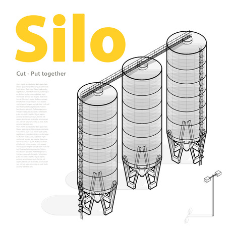 grain storage: Silo building isometric infographic big Outlined seed grain silage on white background. Illustration set for article, agriculture, farming, husbandry. Flatten isolated master vector.