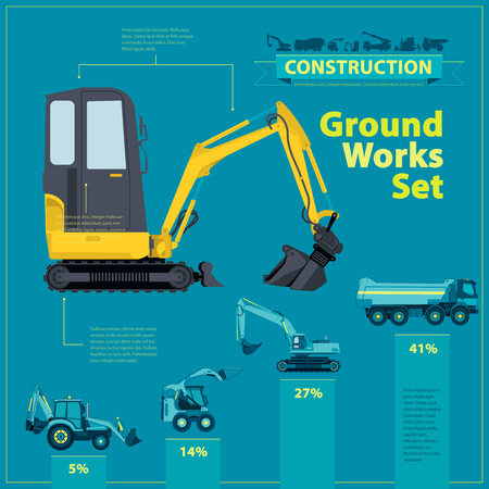Yellow excavator. Blue infographic big set of ground works blue machines vehicles. Catalog page. Heavy construction equipment for building digger truck crane bagger mix. Transportation master vector.