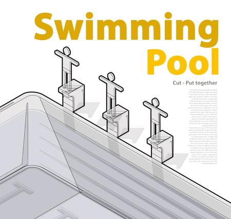 springboard: nadadores de carreras saltar iniciarlo. Piscina con los nadadores, isométrica contorneado. Deportistas en trampolín preparan para nadar en el agua. artículos deportivos ilustración. Pictograma elemento 3d. vector principal aislado. Vectores