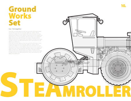 steam roller: Road steam roller truck. Outline typography set with road roller. Construction machinery vehicle. Asphalt Straighten machine. Building construction equipment. Ground work typography catalog page set.