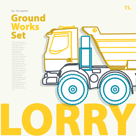 Outline typography set with lorry. Outlined truck. Construction machinery vehicle. Construction equipment for building. Nice ground works typography page. Catalogue typography set with truck. Illustration
