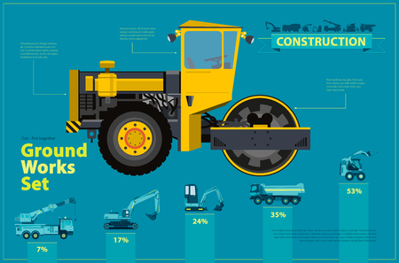 heavy: Yellow steam roller, road roller. Blue infographic big set of ground works blue machines vehicles. Catalog page. Heavy construction equipment for building digger truck crane bagger mix. Master vector.