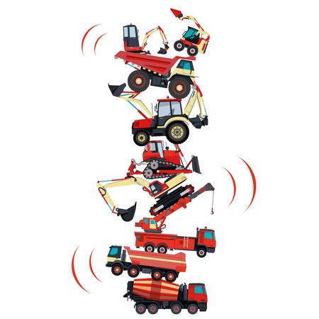 roadwork: Tower assembled from building machines. Collected ground works. Construction machinery. Illustration