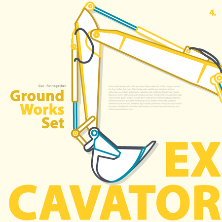 Outlined typography set of ground works machines vehicles, excavator. Construction equipment for building. Construction machinery. Truck, digger, crane, forklift, master vector illustration. Illustration