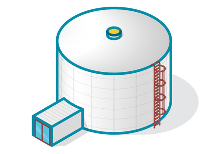treatment plant: A tank for storing water, gas, oil, oxygen and other solid fuels. Part of wastewater treatment plant, WWTP. Isometric vector symbol for water management, gasometer or deal with fuel and drinking water.